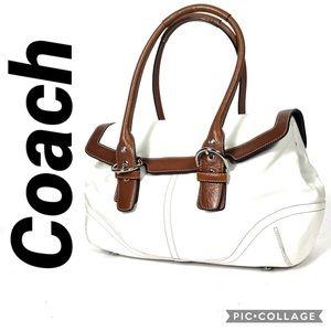 Coach 9636 medium soho hamptons flap satchel white